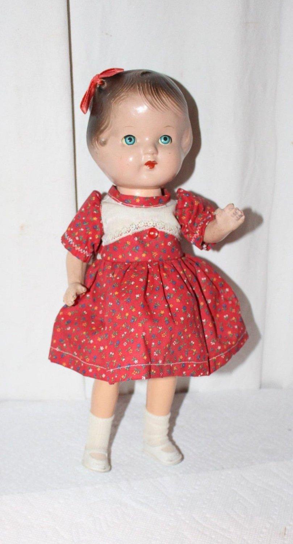 "Vintatge 13"" Composition Doll Blue Sleep Eyes Molded Hair Dressed Patsy Type"