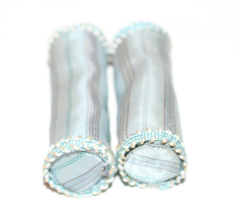 2 Dollhouse Miniature Grey Blue Bolster Pillows