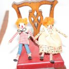 "Dollhouse Miniatures Raggedy Ann and Andy 2"" Dolls Stick Figures"