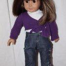 American Girl Doll Brown Shoulder Length Hair Bangs Brown Eyes Nice Outfit Exlnt