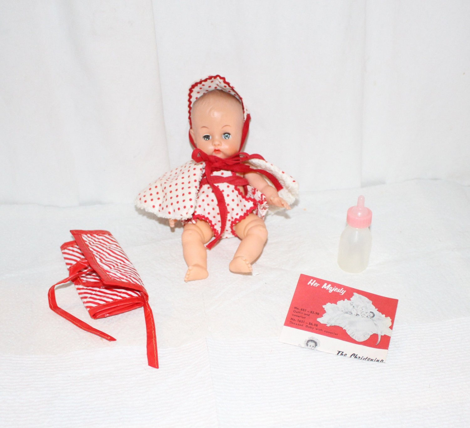 """VINTAGE 8"""" BABY DOLL 8"""" WITH Clothes Access. Swimsuit Set Bunny Rabbit Cute"""