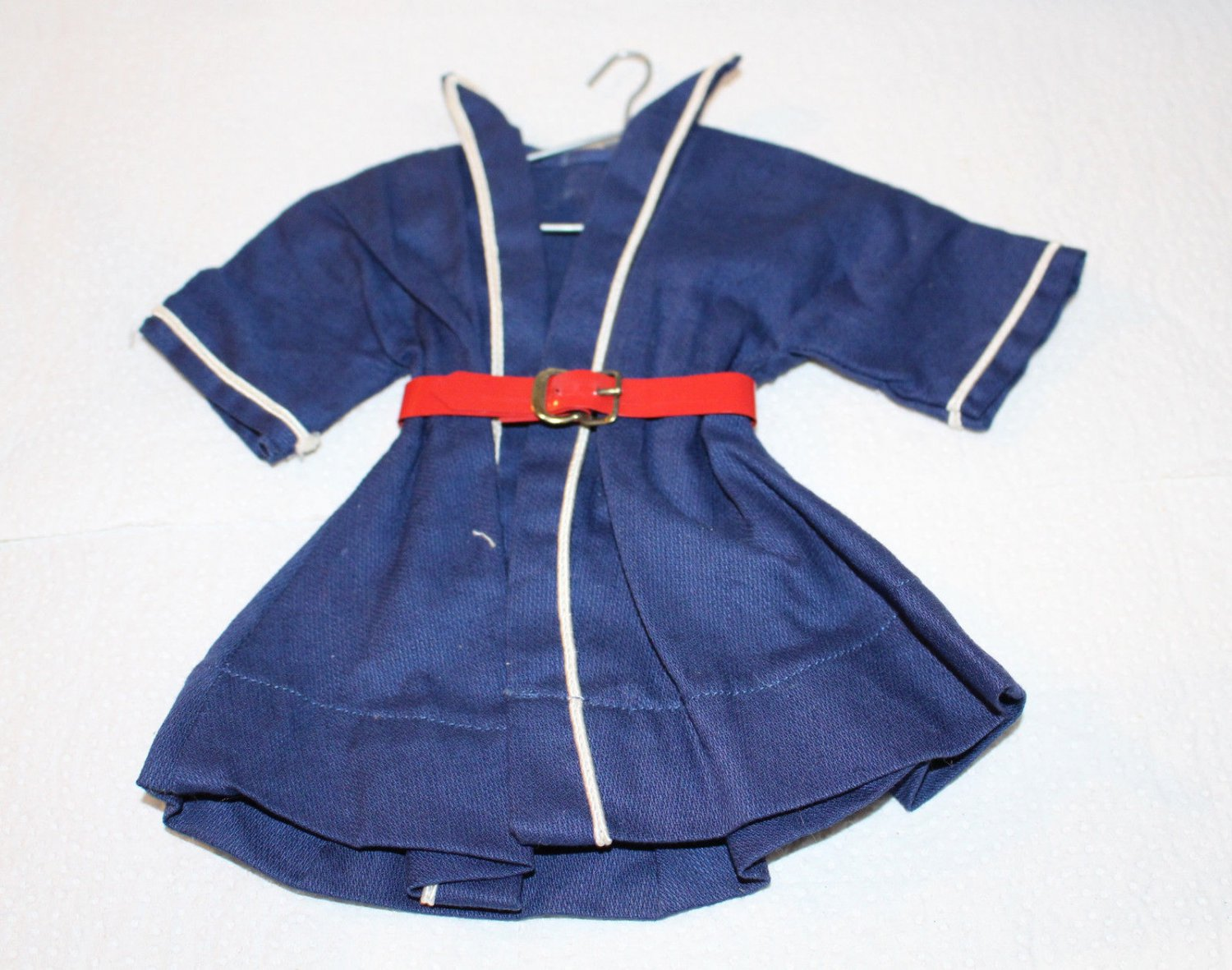 """VINT DOLL DRESS FITS 13"""" SHIRLEY TEMPLE DOLL BLUE DRESS WHIE TRI RED BELT"""