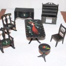 Dollhouse Furniture Black Stenciled Dining Living  Room 7 Pieces Peacock