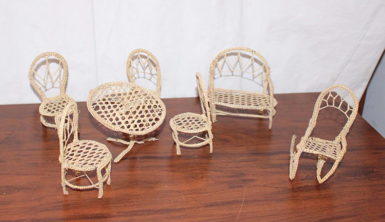 Dollhouse Furniture Patio Set Table Chairs Settee Rocker Unusual