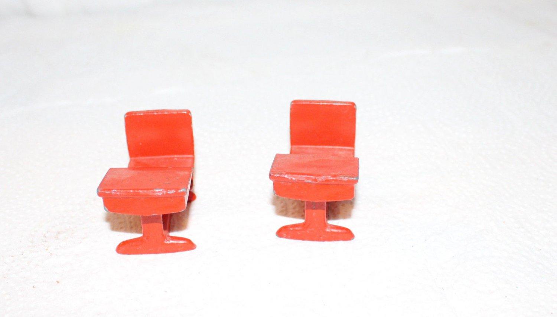 2 Vintage Style Red Metal Dollhouse School Desks