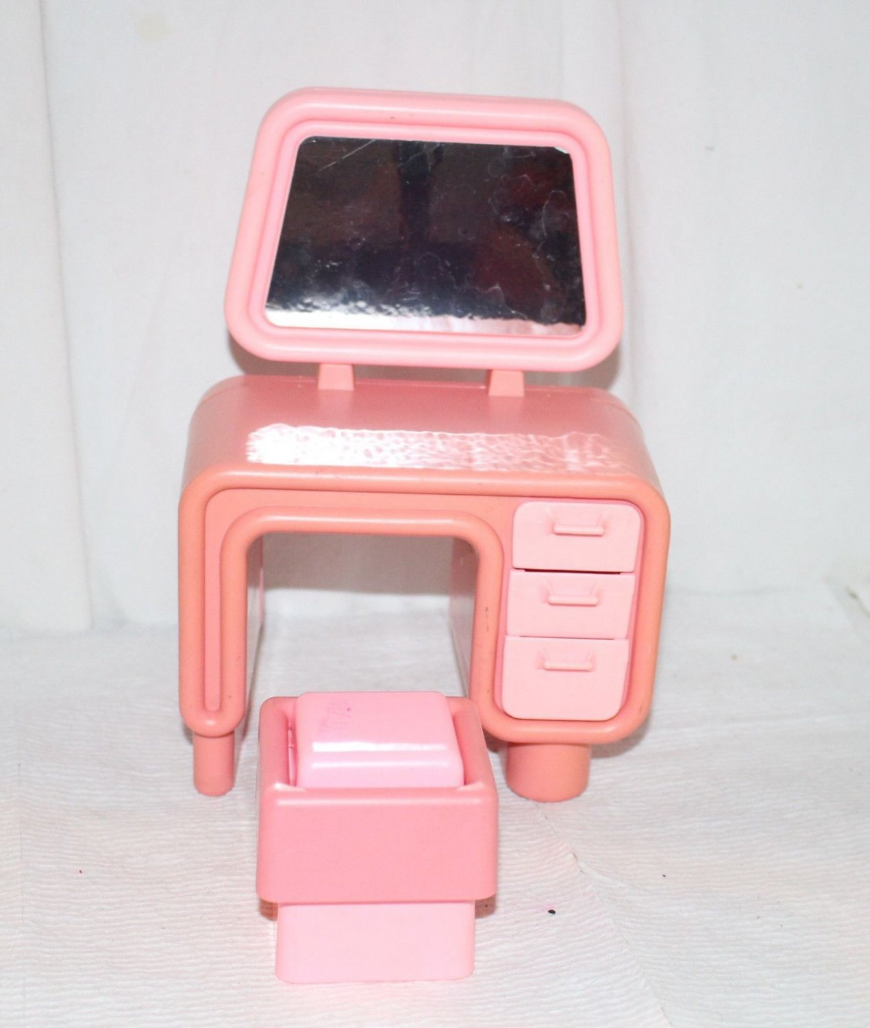 Barbie Dream House Orange and Pink Desk and Bench Mod Era