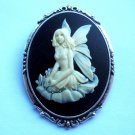 Kneeling Fairy Cameo in Silver Tone Antiqued Setting 50mm