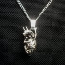 Heart Organ Anatomy Silver Tone Pendant Necklace 18 inch chain