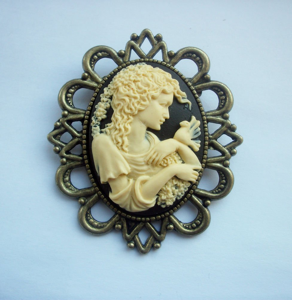 Lady with a Dove Black Cameo in Antiqued Bronze Tone Brooch 60mm