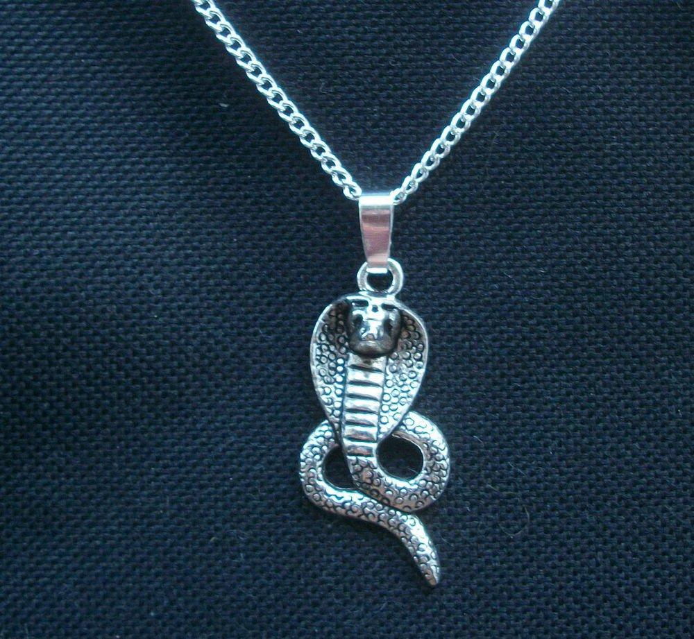 Cobra Snake Silver Tone Pendant Necklace