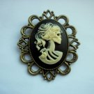 Lolita Skeleton Girl Gothic Cameo in Antiqued Bronze Tone Brooch 60mm