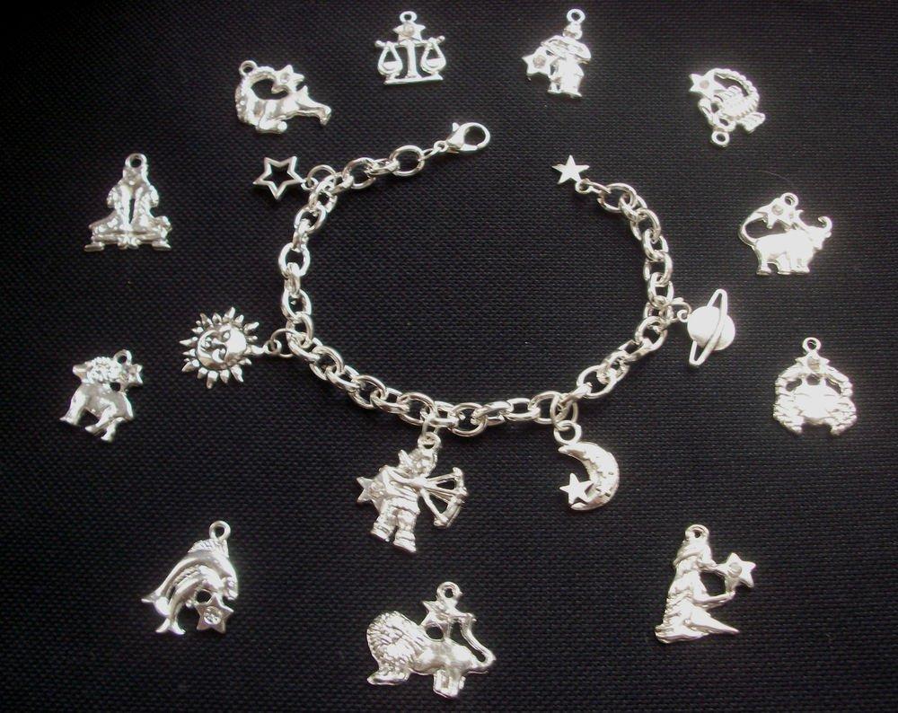 Star Signs Astrology Charm Bracelet Silver Tone