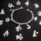 Star Signs Astrology Charm Bracelet Silver Tone