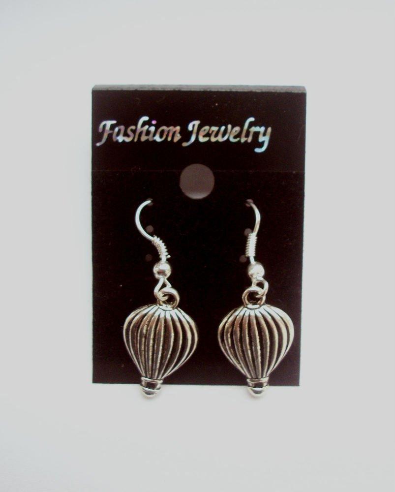 Hot Air Balloons Silver Tone Earrings