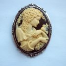Grecian Lady with a Dove Cameo Antiqued Silver Tone Brooch 48mm