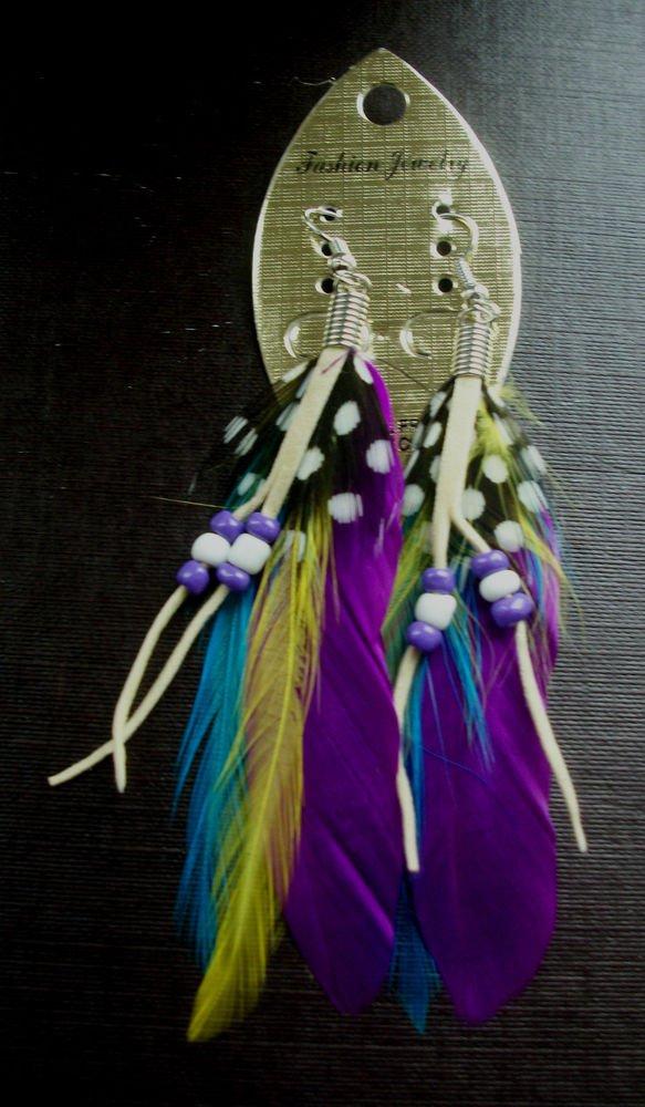 Feather Earrings Ethnic, Boho, Tribal, Hippy Summer Festival