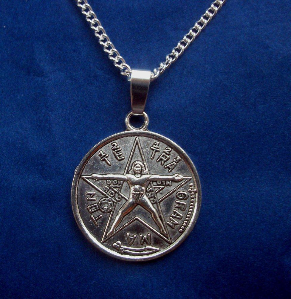Tetragrammaton Amulet Pendant & Necklace 18 Inch Chain Silver Tone Metal