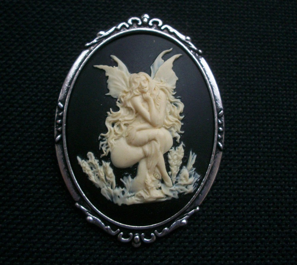 Fairy Seated on a Toadstool Resin  Cameo in Antiqued Silver Tone Setting 50mm