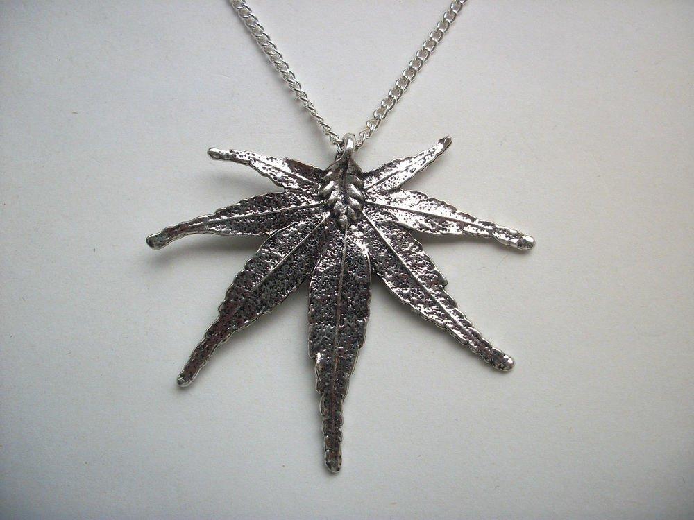 Hemp Leaf Pendant Silver Tone Necklace
