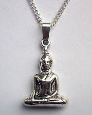 Qwan Yin, Kwan Yin Buddha Silver Tone Pendant necklace