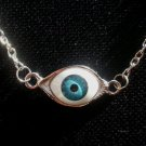 Evil Eye All Seeing Eye Necklace Silver Tone Chain 28 inch