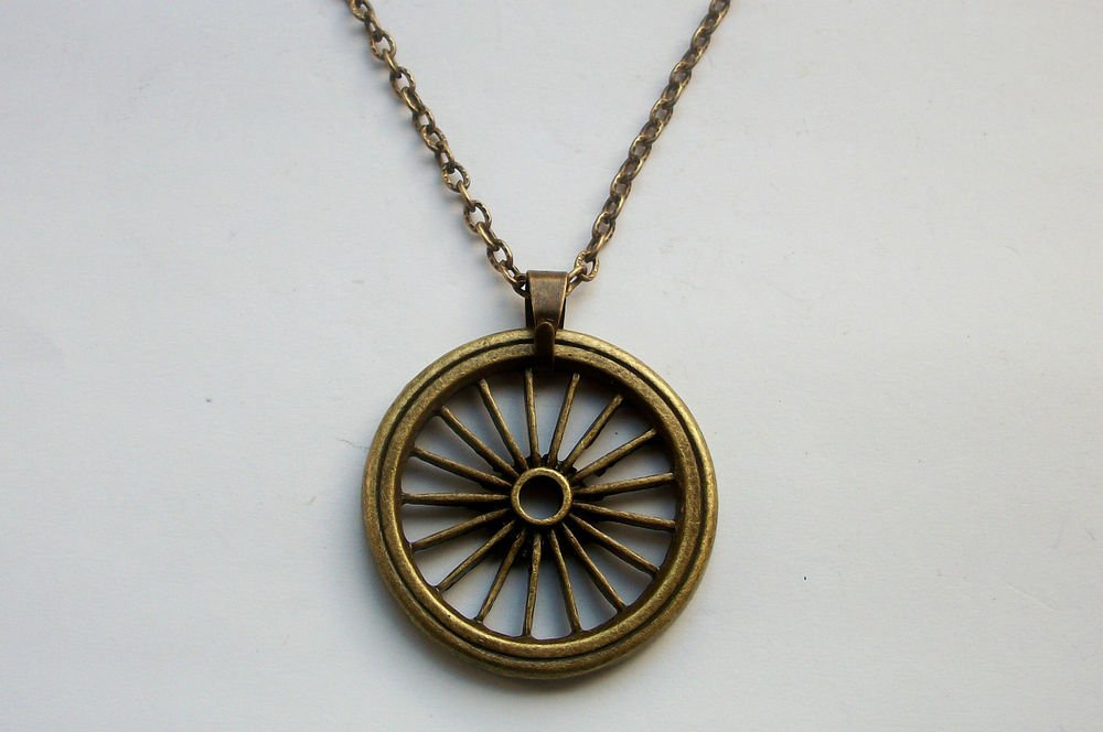 Buddhist Wheel Pendant Steampunk Antiqued Bronze Tone Necklace