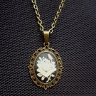 Gothic Rose Cameo Pendant Necklace Antiqued Bronze Tone 18 inch