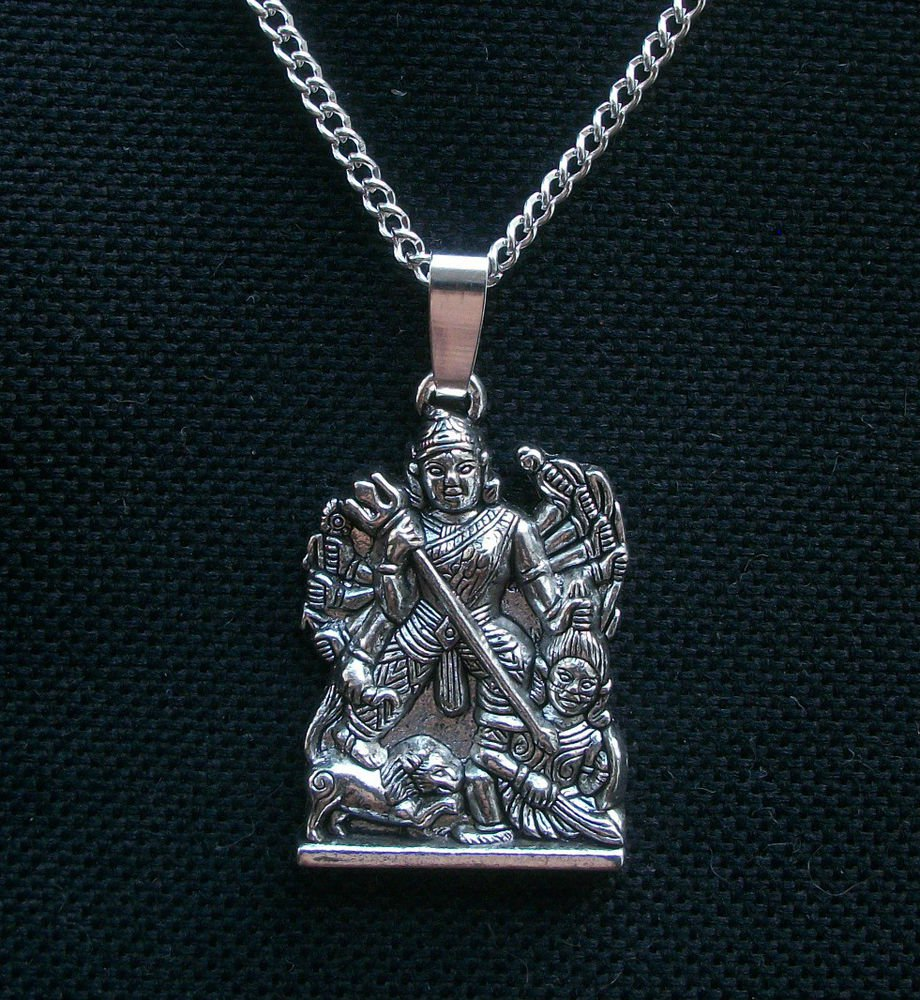 Khali Hindu God Silver Tone Pendant Necklace