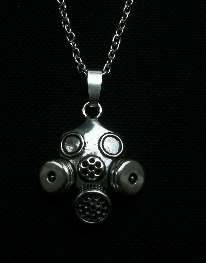 Gas Mask, Steam Punk, Bio-Hazard Zombie Goth Pendant Necklace