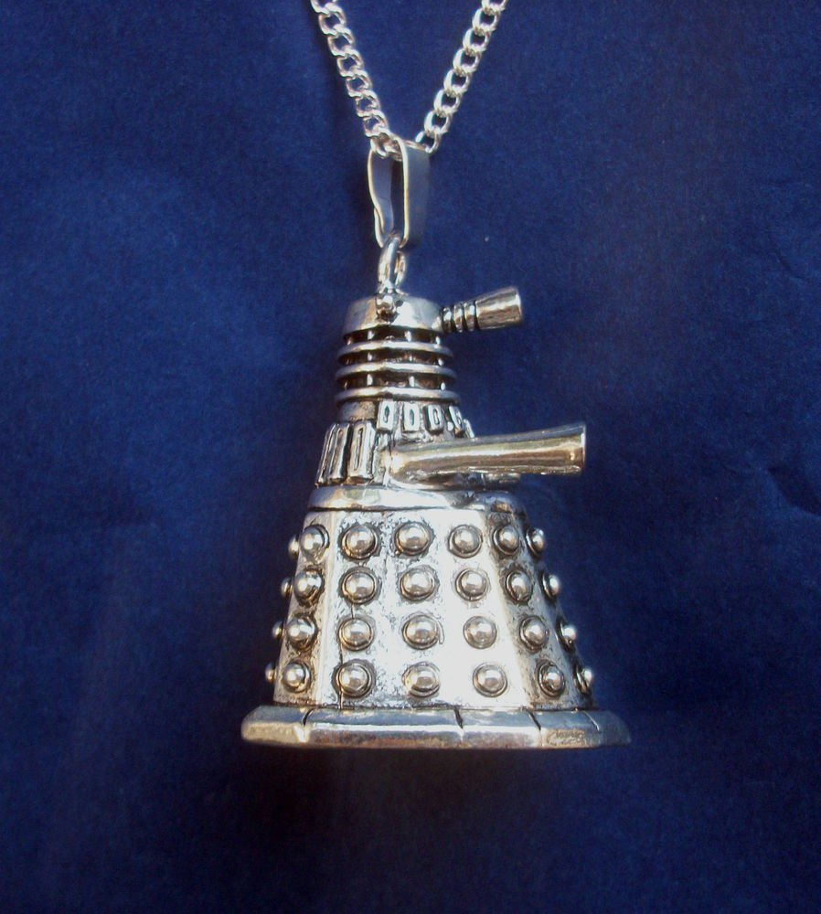 Dalek Dr Who Pendant Necklace 18 inch chain silver tone metal