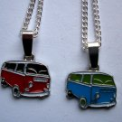 VW Camper Van Enamelled Pendant Necklace