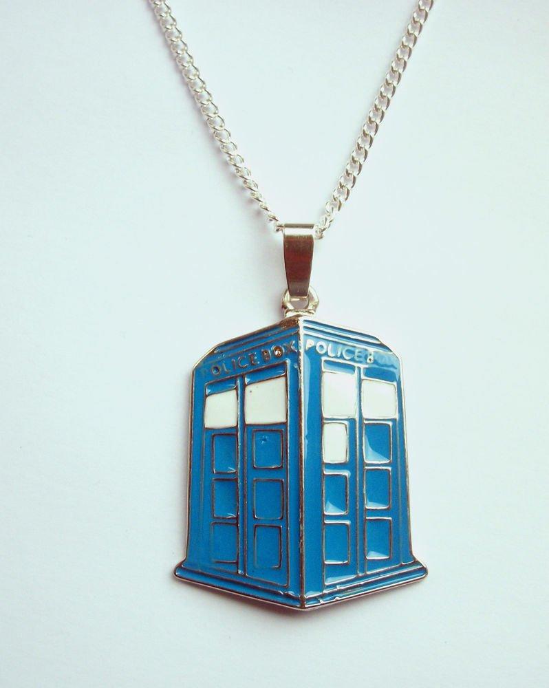 Tardis Police Box Dr Who Enamelled Metal Pendant Necklace