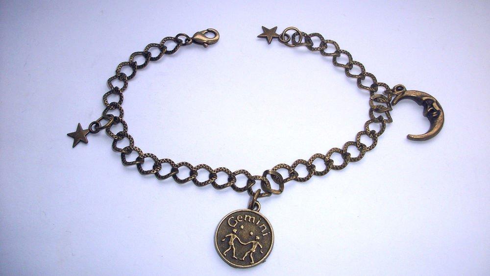 Zodiac Star Sign Bronze Tone Astrology Bracelet