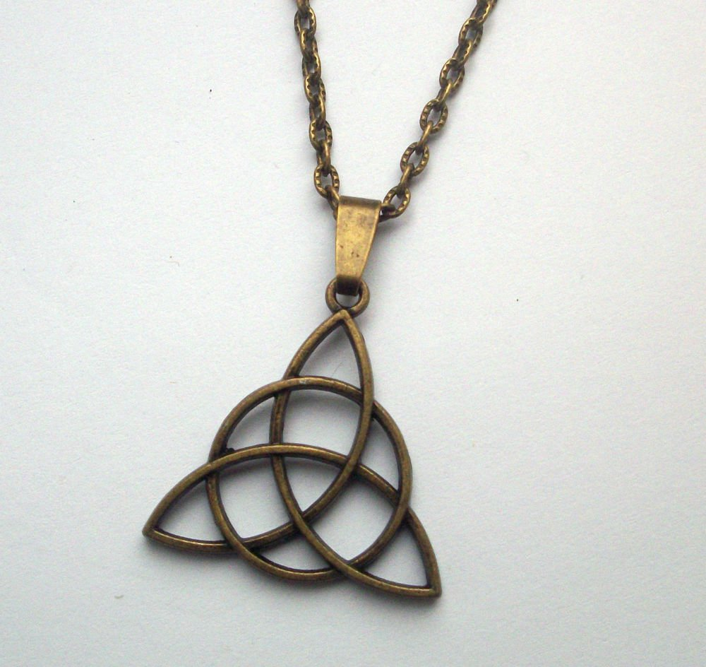 Triquetra Celtic Triangle Pendant Necklace Antiqued Bronze Tone
