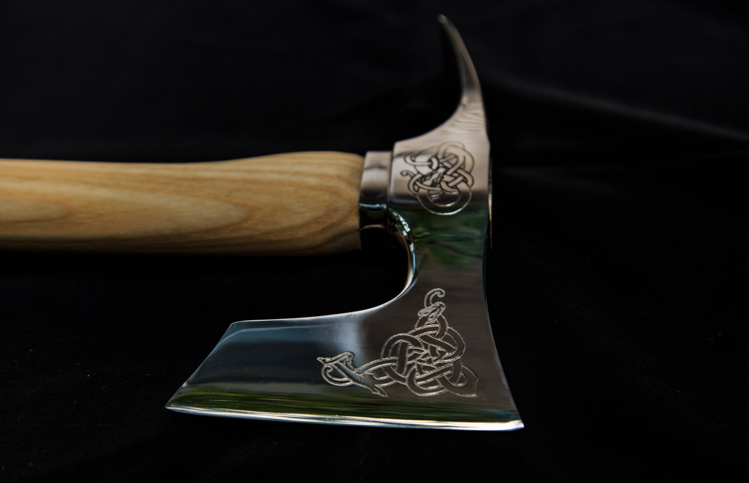 Stainless Steel Engraved Bearded Axe With Adze Blade