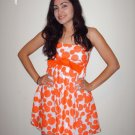 Orange Polkadot Big Bow Dress - Medium