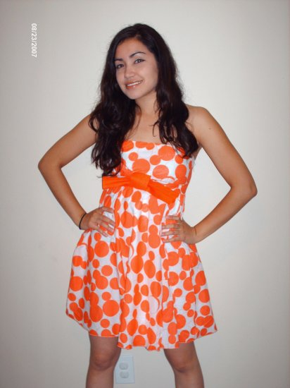 Orange Polkadot Big Bow Dress - Large (Last One!!)