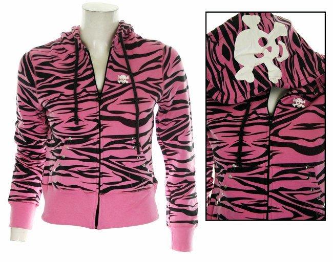 Pink Zebra Print w/ White Skull Hoodie - Large