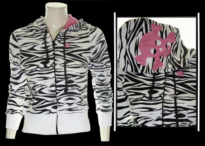 White Zebra Print w/ Pink Skull Hoodie - Large