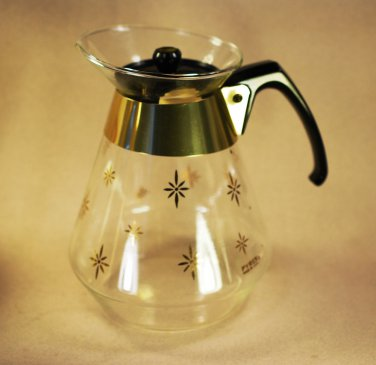 Pyrex Corning Atomic Gold Star Burst Coffee Carafe 8 Cup USA 1965 FAB Retro