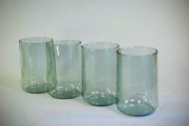 Glass (4) Palest Blue Tumblers Mid Century Modern Very Delicate Mold Blown FAB