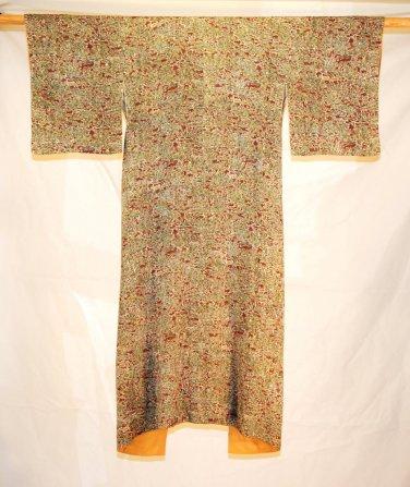 Kimono Japan Vintage Komon Mauve Cream Flower Silk Hand Robe Dress Original