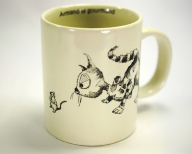 CAT  Mouse Mug Cup Armand Le Gourmand FAB White and Black  Cats of Paris Series