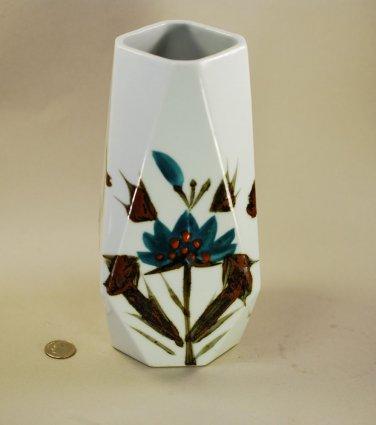 Vase Asian Flower FAB Geometric Shape White Blue Brown Hand Glazed Mid Century
