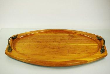 Ozark Walnut Ware Solid Walnut  Wood FAB Serving Tray Metal Handles 14 x 9