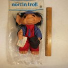 "Vintage 1977 Thomas Dam Norfin Troll Doll 11"" Tall Rookie Black Hair"