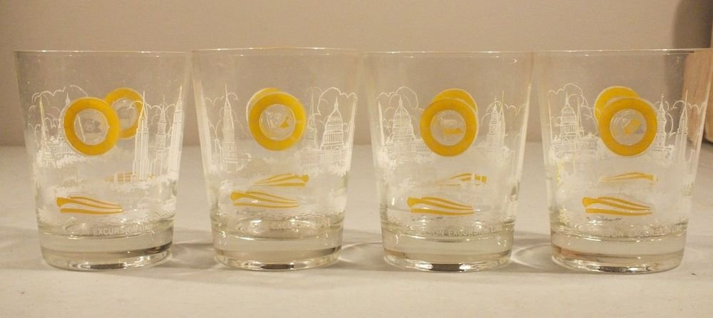 Set of 4 Glasses Wilson Excursion Line Cruise Ship Travel w/ box UNUSED
