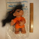 "DAM NORFIN TROLL DOLL HEATHER WITH TAG STYLE 6046 BLACK HAIR 11"" 1977"