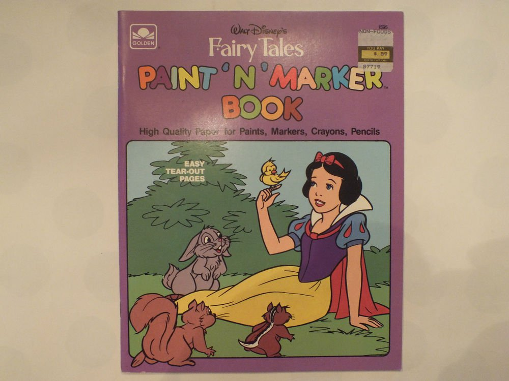 Unused Vintage Golden Coloring Book Disney's Fairy Tales Paint and Marker Book