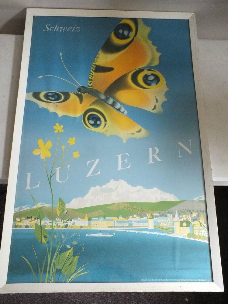 Vintage Original Luzerne Lake Travel Poster Lucern Switzerland Butterfly